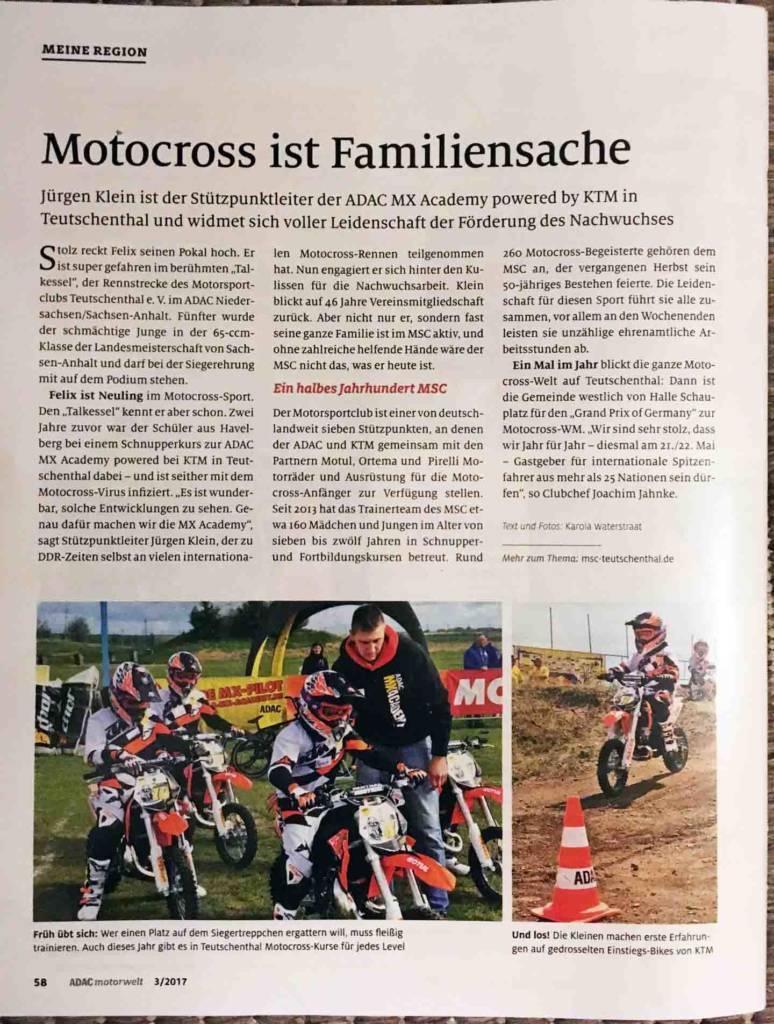 """Artikel """"Motocross ist Familiensache"""" in der ADAC Motorwelt 3/2017"""