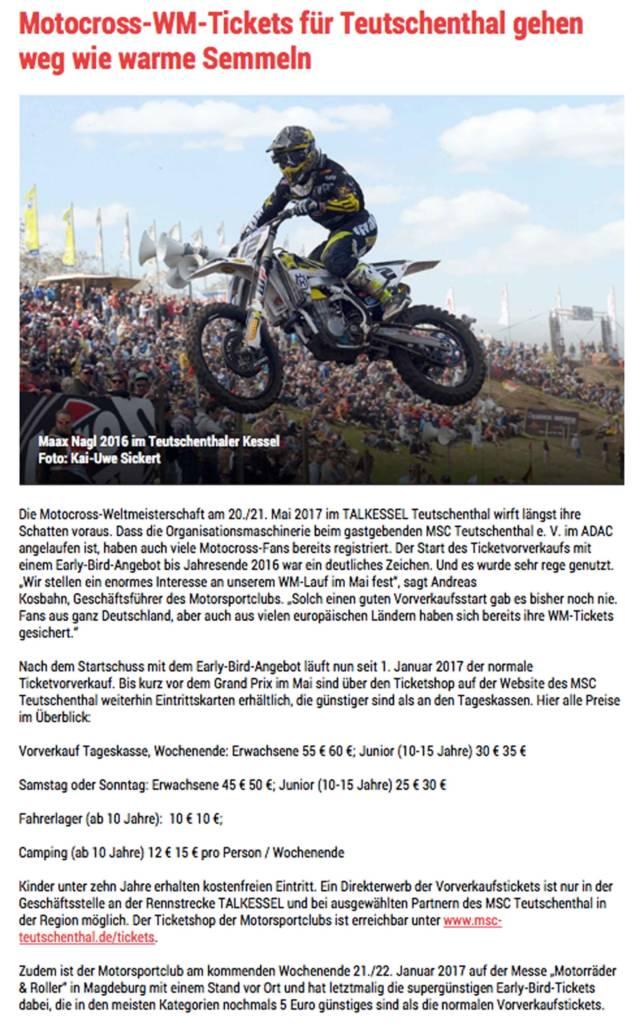Bericht über Kartenvorverkauf zum Motocross-WM im Mai im TALKESSEL Teutschenthal