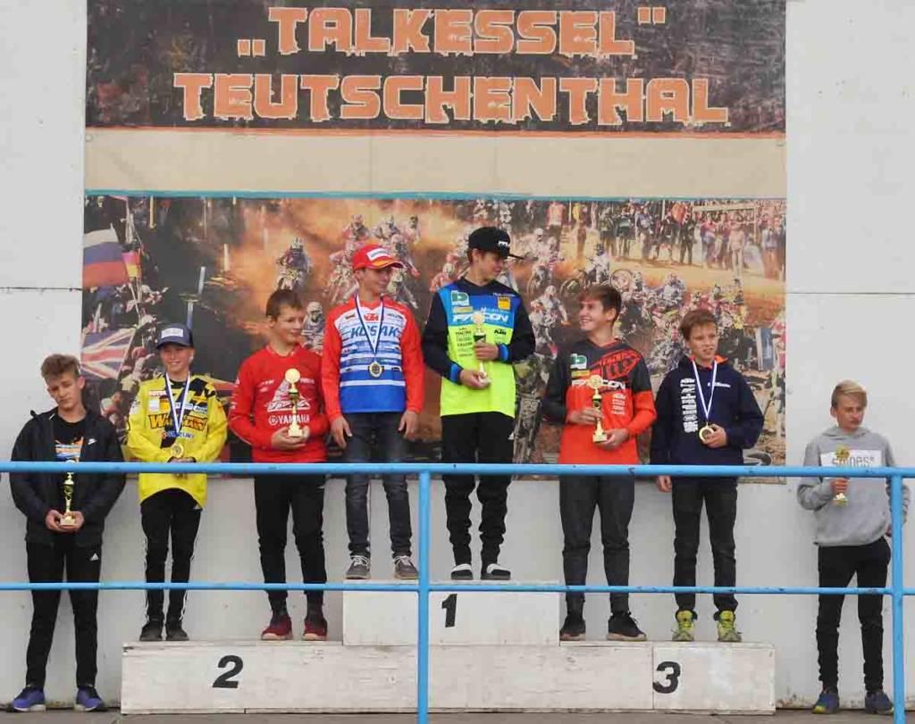 Siegerpodium Landesmeisterschaft Sachsen-Anhalt 2018 Teutschenthal klasse 85ccm